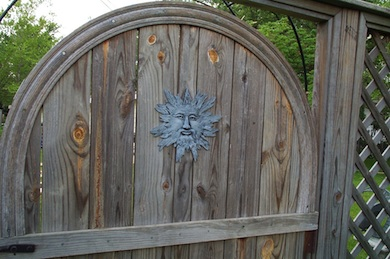 Gate with sun attached